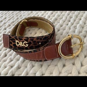 Dolce & Gabbana Gold Leopard Print Belt